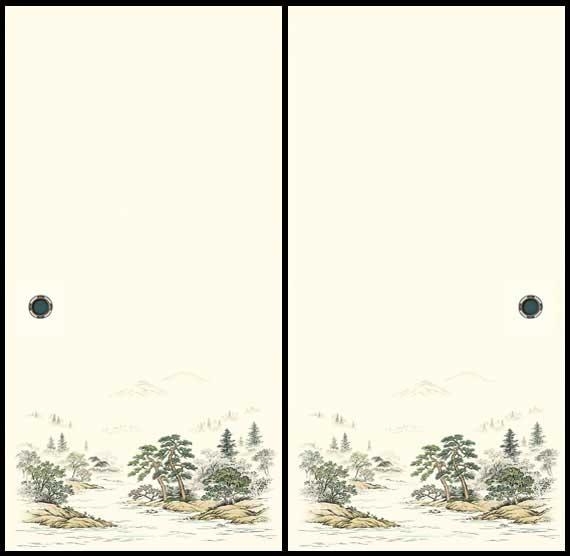 画像1: ふすま紙 ながしま