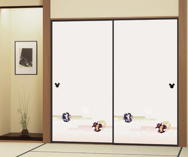 画像1: ミッキーとミニーのふすま紙752 ディズニープレミアムコレクション