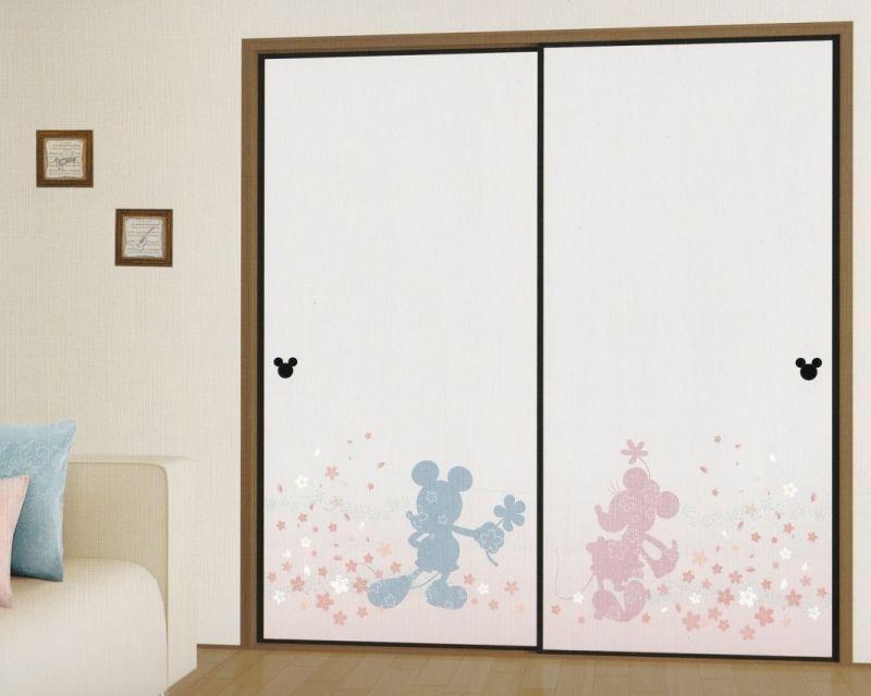 画像1: ミッキーとミニーのふすま紙751 ディズニープレミアムコレクション
